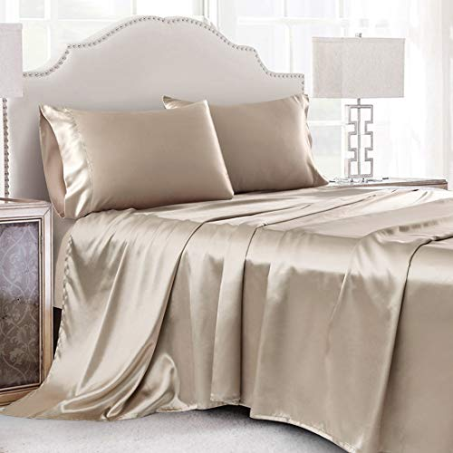 Cobedzy 4 Pcs Taupe Satin Sheets Queen Size Silk Satin Bedding Sheets Set with 1 Deep Pocket Fitted Sheet, 1 Flat Sheet, 2 Pillowcase