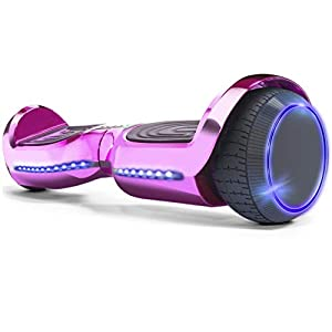 """XtremepowerUS 6"""" Self-Balancing Pink Hoverboard LED Light Bluetooth Speaker (SGS Certified) Hover Board for Kids & Adults"""
