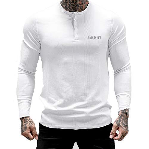 Minikoad_Men Coat Playera de Fitness para Hombre con Cuello Redondo y Manga Larga y Botones, Blanco, XX-Large