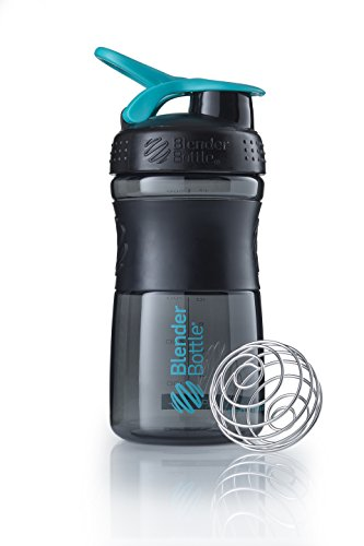BlenderBottle Sportmixer Botella de agua | Botella mezcladora de batidos de proteínas | con batidor Blenderball | libre de BPA | Tritan| 590ml - negro/teal