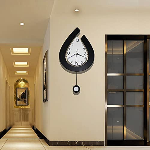 Decorative Wall Clock for Living Room Decor, SHUNZY Large Pendulum Wall Clocks Battery Operated for...