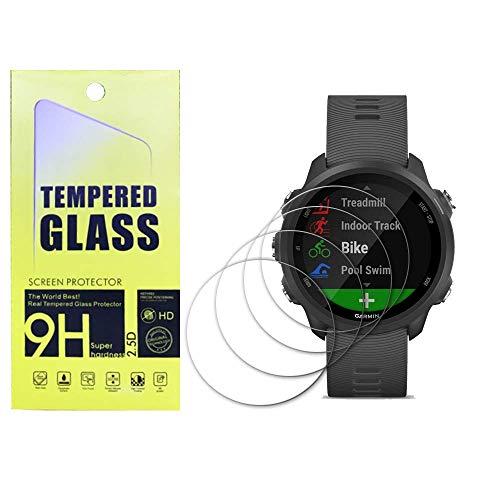 Protector de pantalla de vidrio templado para Garmin Forerunner 245/245 Music, [4 piezas], dureza 9H, antiarañazos,YISPIRIN Protector de pantalla para Garmin Forerunner 245