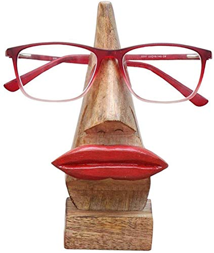 Handmade Popped Red Lips, Wooden Spectacle Holder Stand, Eyeglass Retainer, Sunglasses Quirky Display Stand for Home and Desk Decorative - 6 inch