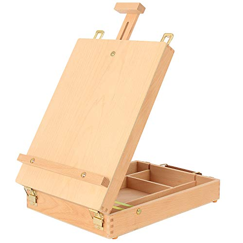 Art Supplies Box Easel Sketchbox Painting Storage Box, Adjust Wood Tabletop Easel for Drawing & Sketching Student (Painting Easel Box)