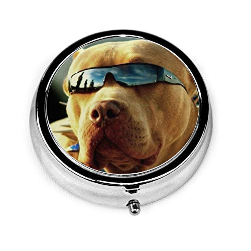 Pitbull Dogs with Cool GlassesTravel Pill Organizer, Portable Pill Box Case to Hold Vitamins, Fish Oil, Supplements and Medication