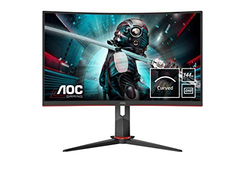 AOC Gaming CQ27G2U - 27 Zoll QHD Curved Monitor, 144 Hz, 1ms, FreeSync Premium (2560x1440, HDMI, DisplayPort, USB Hub) schwarz/rot