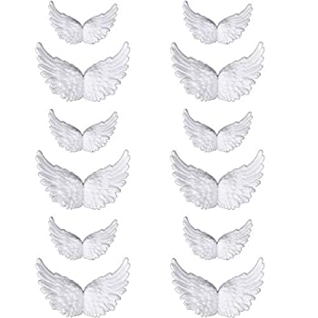 Mini Small Angel Wings for Crafts White 3D Wings Patches Clothes Applique DIY Crafts Set of 12