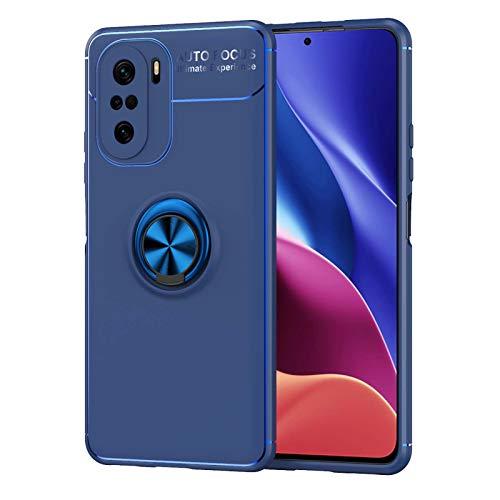 KERUN Funda para Carcasa Teléfono Xiaomi Redmi Note 10 Pro, Soporte Anillo Metal Giratorio 360°, Carcasa Silicona TPU Suave, Escudo Protector Ultrafina Prueba Golpes Duradera.Azul