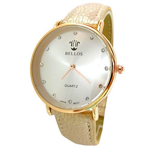 Reloj para mujer, color nude dorado y oro fino, clásico, color marrón pastel