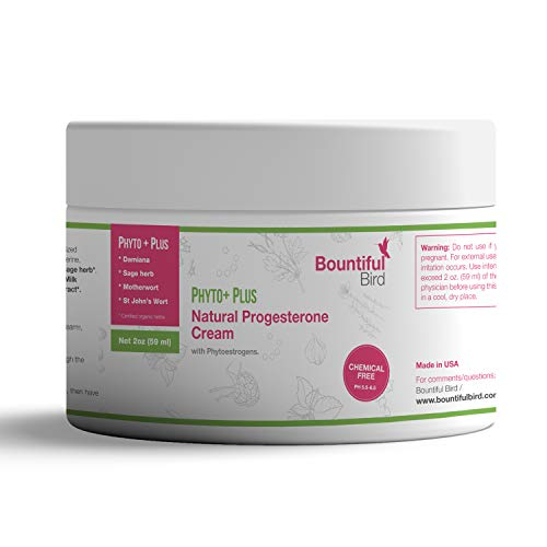 Bountiful Bird Phyto Plus Natural Progesterone Cream, 2oz, Organic Phytoestrogens, Bioidentical...