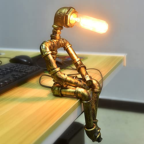 PIPRE Lámpara de mesa vintage, estilo retro, creativa, industrial, lámpara de mesita de noche con patrón robot , lampara steampunk mesa para bar, pub, cafetería y restaurante