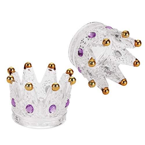 SUMTREE 2 Pack Crystal Glass Crown Nail Art Dappen Dish Nail Dapper Bowls Nail Brush Cup,Gold+Purple