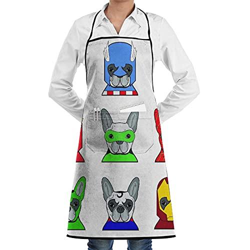 LOSNINA Delantal de cocina impermeable para hombres delantal de chef para mujeres,Superhéroe Bulldog Superhéroes Divertidos cachorros de dibujos animados disfrazados Disfraz de perros con máscaras