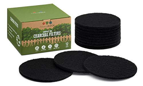 Third Rock Charcoal Filter Replacements for Kitchen Compost Bin - 12 Pack - 6.5 inches in Diameter | Designed to Fit 1.3 Gallon Compost Bin | Premium Extra Thick Filters | 3 Years Supply