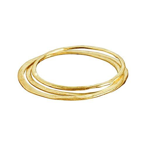 Roberto Leonardi Armreif N038, Set/3 col. Gold - Zeitloses Design aus Messing