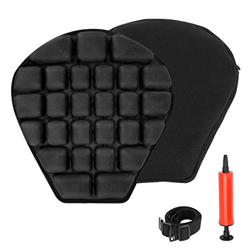 SUPAREE Motorcycle Seat Cushion, Air Inflation/Water Fillable Cooling Down Seat Pad, Pressure Relief Ride Motorcycle Air Cushion for Sport Cruiser Touring Saddles, Shock Absorption