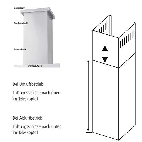 Oranier Schacht Dunstabzugshaube 60 cm Verlängerungsschacht für Wandhauben Lara, Meba 9208 96