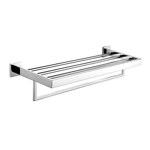 Leyden Chrome Bathroom Shelf, Towel Rack with Towel Bar 24 Inch Stainless Steel Wall Mounted
