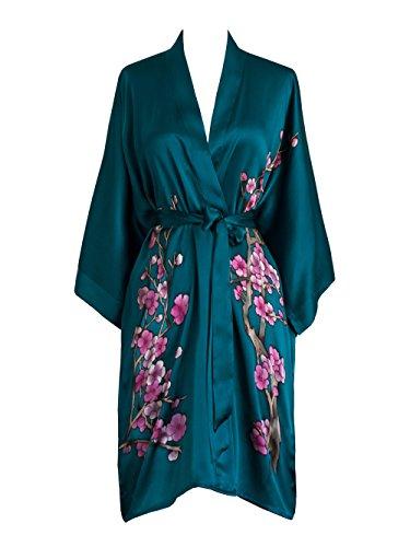 Old Shanghai Women's Silk Kimono Short Robe - Handpainted, Cherry Blossom Teal, One Size.