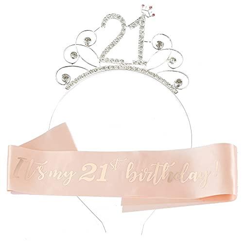 Ein Herz Tiara de 21 cumpleaños de oro rosa con corona de cristal y banda de cumpleaños para mujeres y niñas, 21 aniversario