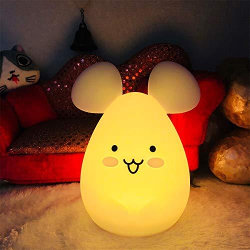 Nachtlicht Kinder, Tianhaixing Baby Nachtlicht Maus mit Fernbedienung und Farbwechsel LED Kinderzimmerlampe mit Interner Wiederaufladbarer Akuu Hergestellt aus BPA-freiem Silikon
