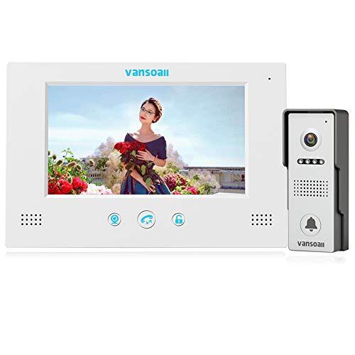 VANSOALL 7 LCD Monitor Wired Video Intercom Doorbell System, Video Door Phone Kits with 1200TVL Camera Night Vision Support Monitoring, Unlock, Dual-way Door Intercom for Villa Home Security Systems