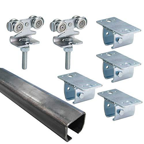 BAUER - Laufwerk-Set 3 m 1 flüglig, 80kg Deckenbefestigung | Scheunentorrolle, Scheunentor, Rolle, Laufrolle, Schiebetor, Rolltor