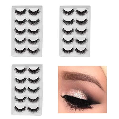 15 paires de 3D Hand-made faux cils, longs et épais Fluffy Fashion Style Cils, réutilisable pour une variété d'effets de maquillage