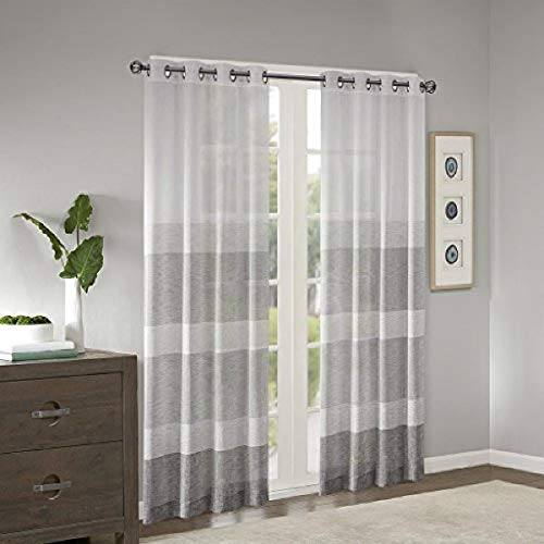 """Madison Park Hayden Striped Sheer Woven Faux Linen Curtains for Bedroom, Modern Contemporary Living Room with Grommet, 1-Panel Pack, 50"""" W x 84"""" L, Grey"""