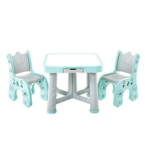 Yyqt Table et Chaise for Enfants, 1 Table 2 chaises, for Enfant en Bas âge 2-8 Ans Little Kid Meubles for Enfants Accessoires Place Hauteur Ajustable (Color : Green, Size : 1 Table 2 Chairs)