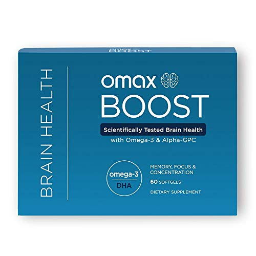 Omax Brain Boost Memory & Focus Supplement Omega 3 DHA + Alpha GPC | Support Brain Health, Improve Memory, Support Focus, Natural Energy, | 60 Softgels