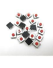 Yanqhua Micro Interruptor 100pcs / Lote 6 * 6 * 3.1 mm SMD Interruptor SMD 4 Pin Touch Micro Interruptor Interruptor Interruptores de pulsador Rojo SMD TACT Switch