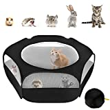 XIRGS <span class='highlight'>Small</span> Animal Playpen, Portable Folding <span class='highlight'>Small</span> Pet Cage Tent, Waterproof Outdoor Exercise Yard Fence with Top Cover Anti Escape for Kitten/Cat/Rabbits/Bunny/Hamster/Guinea Pig/Chinchillas (Black)