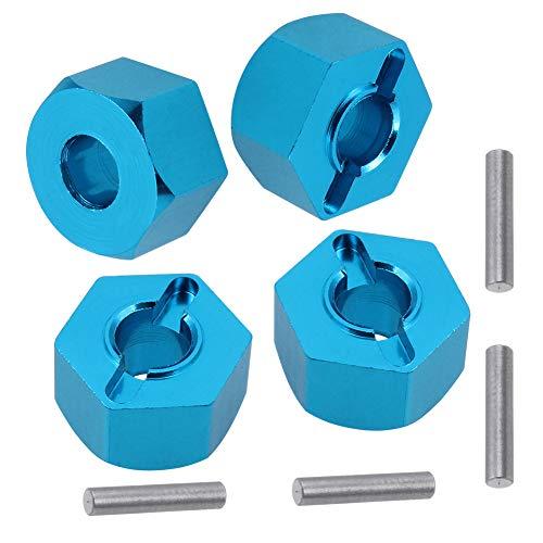 Aluminum RC Front & Rear Wheel Hubs Hex 12mm Upgrade 1654 for 1/10 Traxxas 4X4 Slash Stampede Rustler 4WD (Blue)