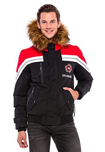 Cipo & Baxx Herren Jacke Winter Warm Kapuzenjacke Kunstfell Jacket Stepp Winterjacke Schwarz L