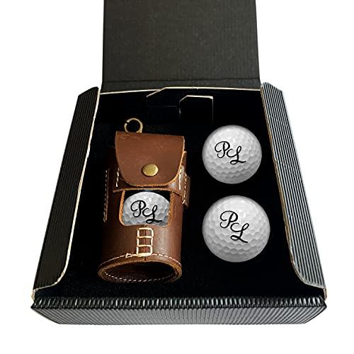 Ledertasche für Golfball mit Gravur Initialen für Golfspieler/in Lasergravur Dein Text personalisiert, Golfsport Wunschtext Personalisieren, inklusive 4 Golfbälle