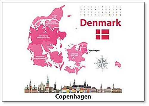 Dänemark Karte & Flagge mit Skyline der Stadt Kopenhagen Kühlschrankmagnet