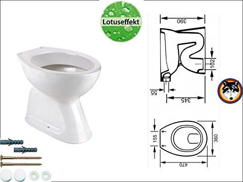 Stand WC Abgang Innen Senkrecht Lotusclean Toilette Flachspüler + Befestigung