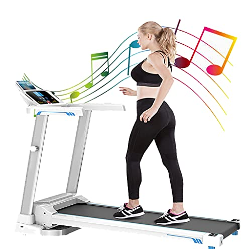 Folding 3 Manual Incline 500LB Weight-Capacity Smart Treadmill, Easy Assembly Electric Motorized Running Machine for Home Use with LCD Screen/Magnetic Float Safety Lock (White-2.0HP)