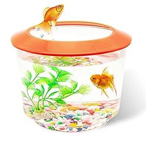 Pet Living Goldfish Tank Small Fish Tanks and Aquariums Complete Set up Kids Fish Tank Starter Kits Fish Bowl for Goldfish with Gravel Ornamental Plant (Orange)
