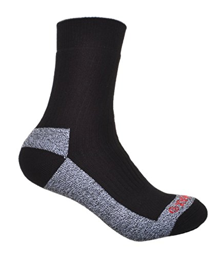 2 Pairs of Thick Cotton Coolmax walking Socks Cushioned Foot, Black, Large 8-11