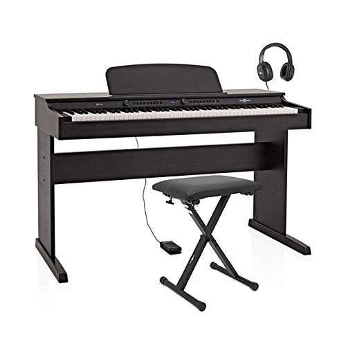 Piano Digital DP-6 de Gear4music (Paquete de Accesorios, Negro)