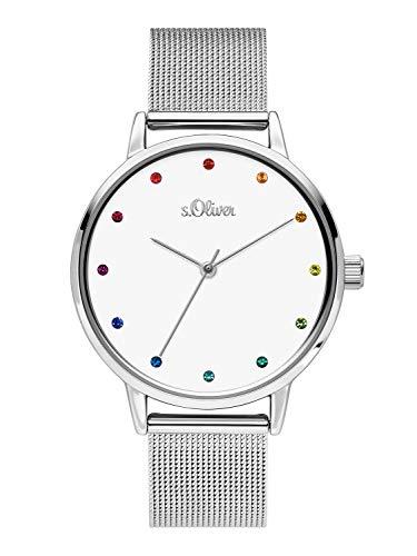 s.Oliver Damen Analog Quarz Uhr mit Edelstahl Armband SO-3780-MQ