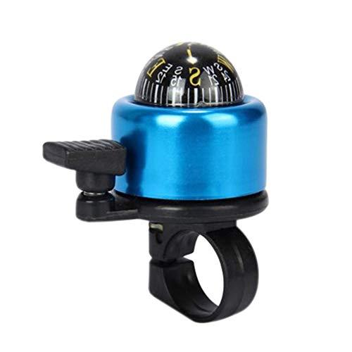 CLISPEED Fahrradklingel Mit Kompass Metall Fahrradring Universal Klingel Glocke Hupe Loud Clear Sicherheitswarnung für Kinder Erwachsene MTB BMX Mountainbike Fahrrad Zubehör Blau