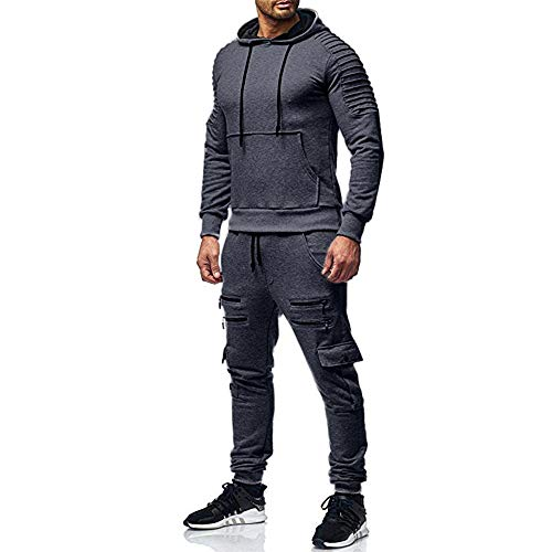 Aiserkly Trainingsanzug Herren Winter Warm Casual Jogginganzug Mit Kapuze Zwei-Teilig Sportanzug Freizeitanzug Sporthose+Hoodie Jogging-Anzug Dunkelgrau M