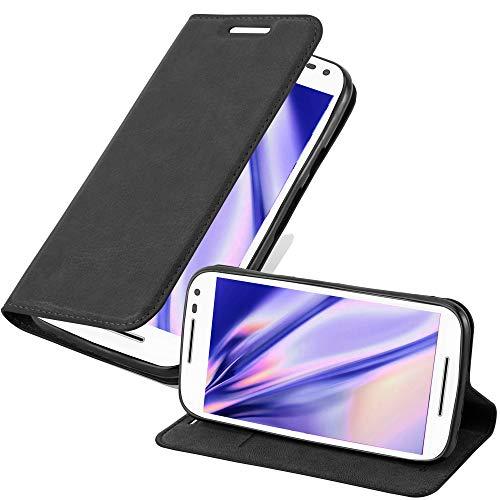 Cadorabo Funda Libro para Motorola Moto G3 en Negro Antracita - Cubierta Proteccíon con Cierre Magnético, Tarjetero y Función de Suporte - Etui Case Cover Carcasa