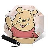 Winnie Cartoon Pooh Paraguas automático de tres plegables, ligero y portátil para fines soleados y lluviosos, sombreado al sol y a prueba de rayos UV