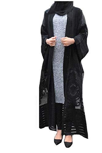 Abetteric Womens Embroidered Dubai Style Cardi Robe Muslim Dresses Abaya Black M
