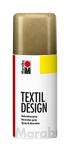 Marabu 17240006784 - Textil Design metallic gold, Dekorationsspray auf Acrylbasis, schnell trocknend, wetterfest, lichtecht, bedingt waschbeständig, zum kreativen Gestalten auf Stoff, 150 ml Sprühdose
