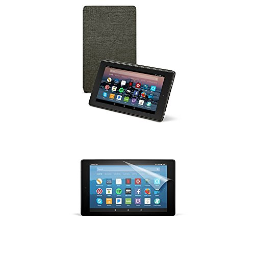 Amazon Cover (Charcoal Black) and Screen Protector (Clear) for Fire HD 8 Tablet (7th Generation, 2017 Release)